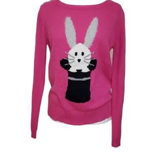 Bongo pink bunny in magician hat graphic sweater